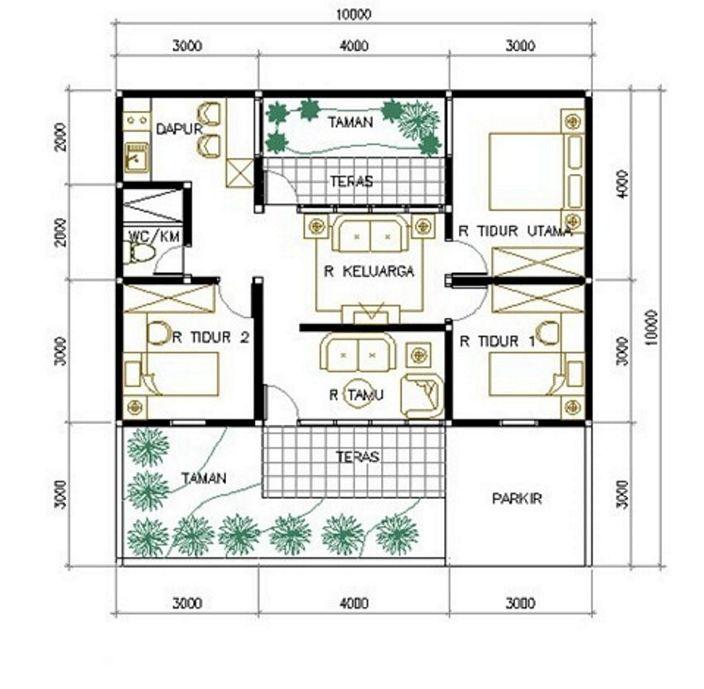 denah rumah luas tanah 100 m2 minimalis