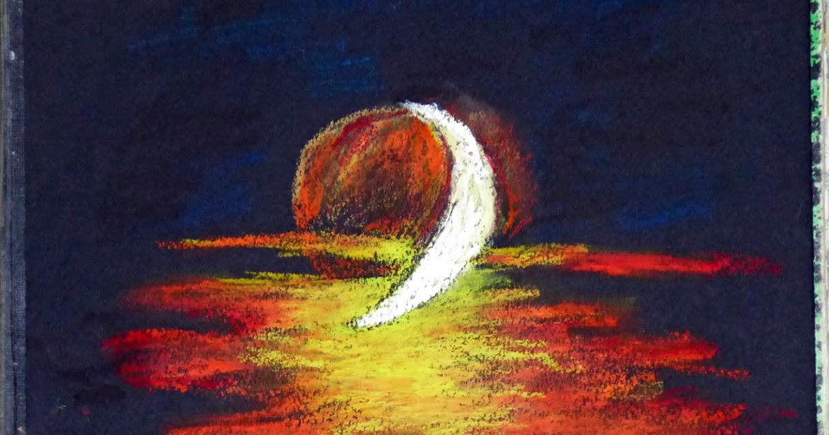 Art de vivre la peinture de peintrefiguratif pastel gras coucher de soleil sur papier noir for Peinture pastel gras
