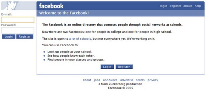 Facebook Log-in Page 2005