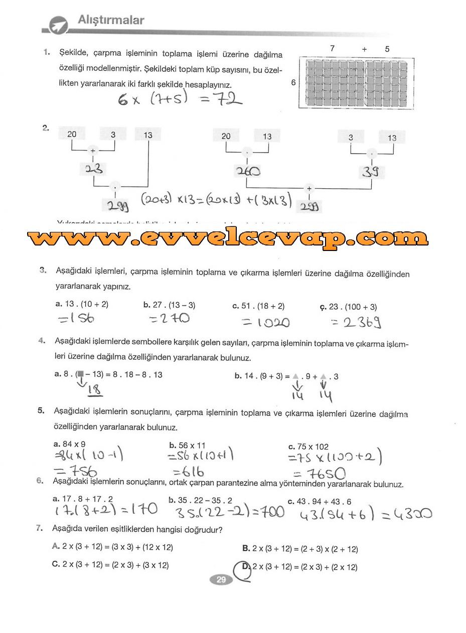 6. Sınıf Matematik Berkay Yayınları 29. Sayfa Cevapları