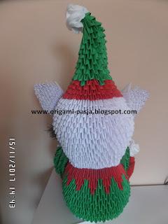 Jak zrobić gnoma, skrzata, elfa z origami modułowego, 3d, segmentowego.