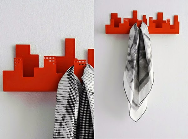 creative coat hooks designs made of wood in the shape of city buildings & This Is 20 Stylish wall mounted coat hooks creative designs Read Now