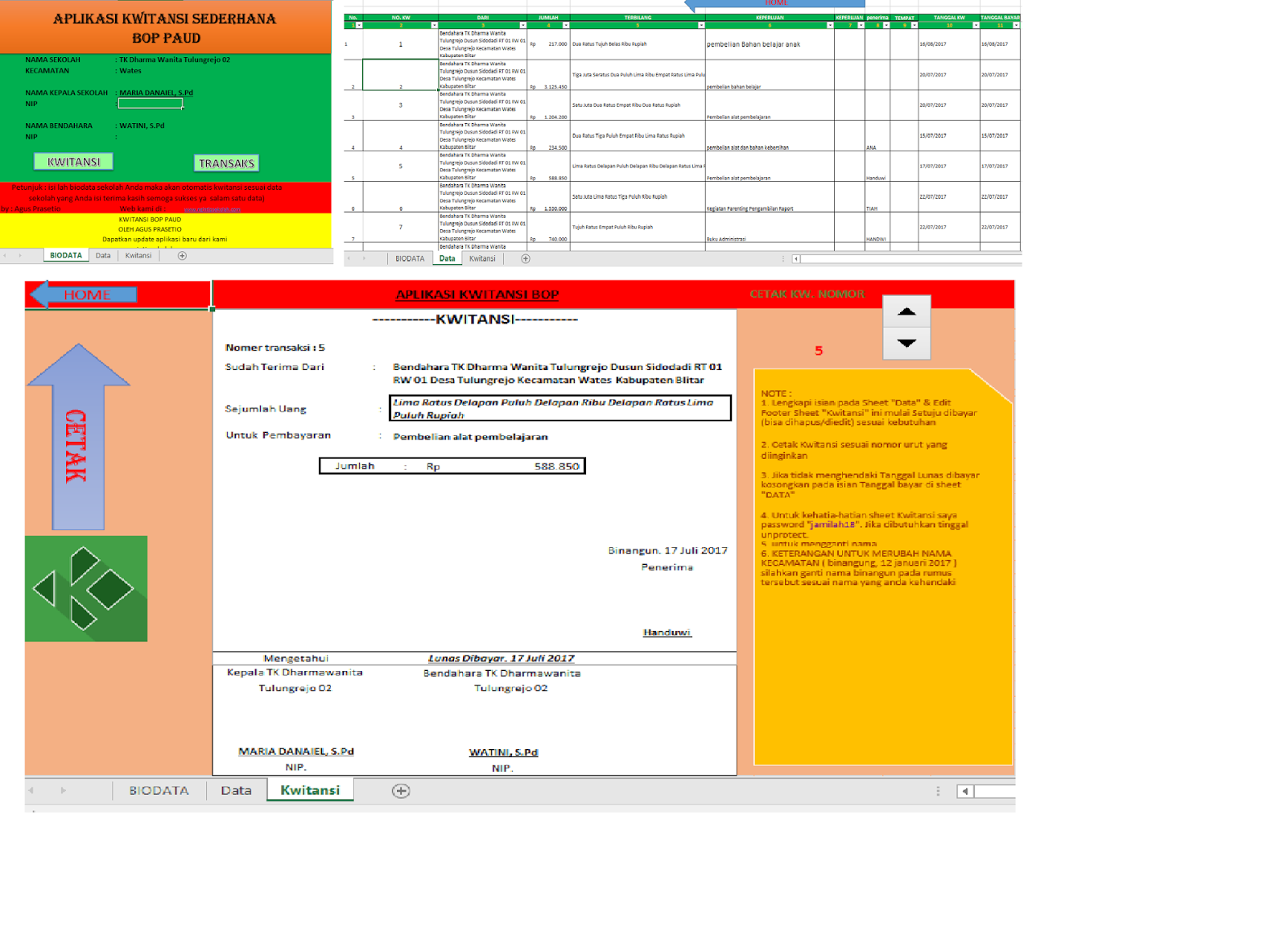 Update Format Laporan Bop Paud Tk Dan Kwitansi Cetak
