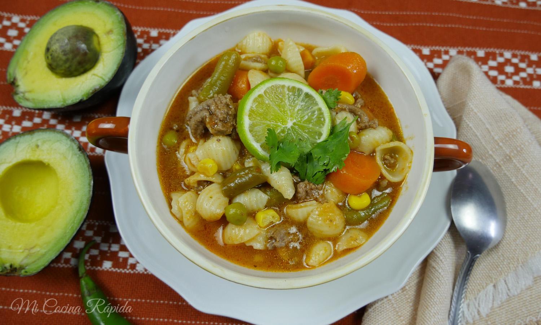 Sopa De Coditos Con Carne Molida Mi Cocina Rápida