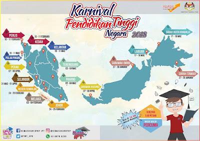 Tarikh dan Lokasi Karnival Pendidikan Tinggi Negara 2018