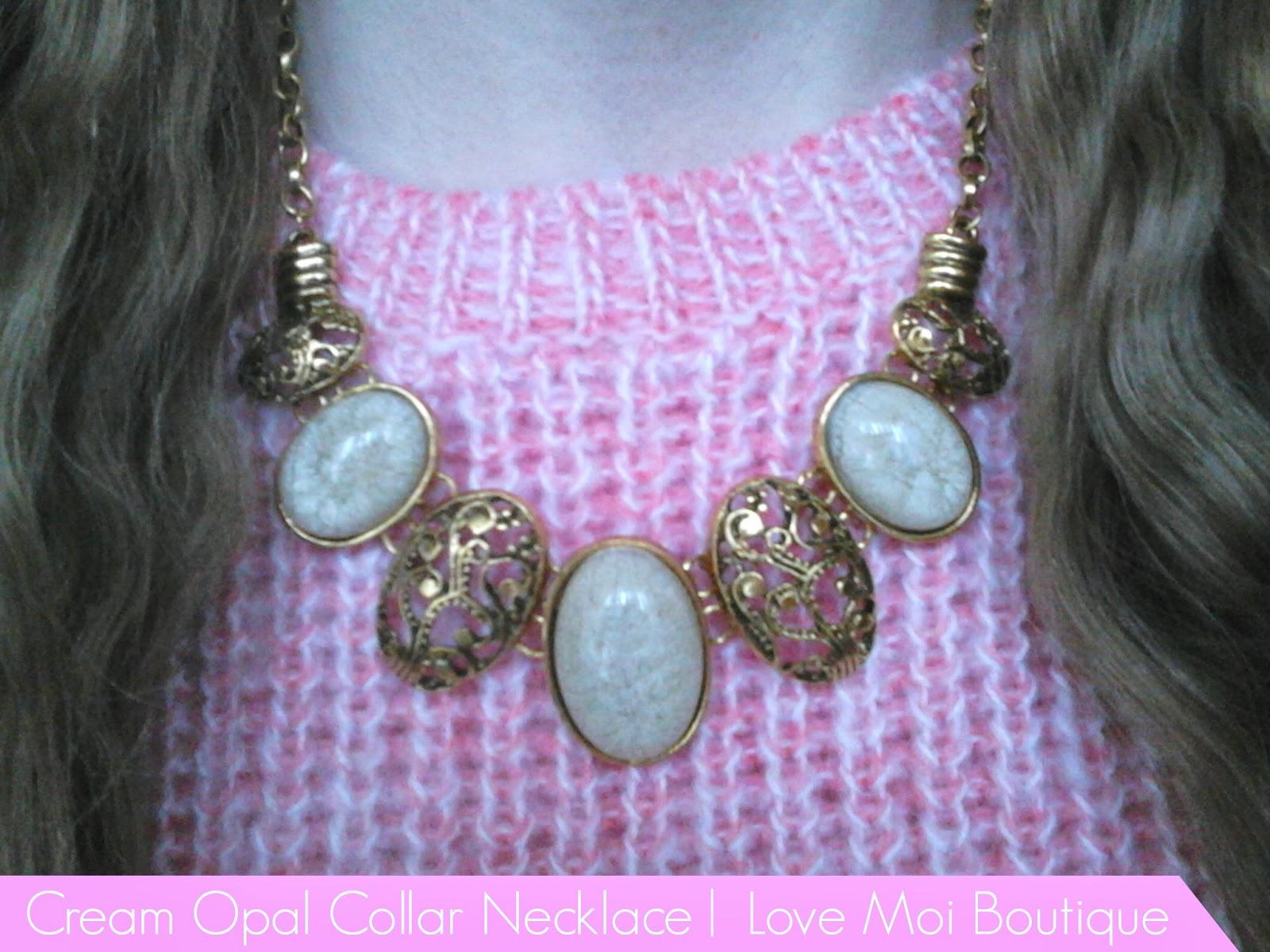 Cream Opal Collar Necklace