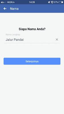 Mengisi nama facebook