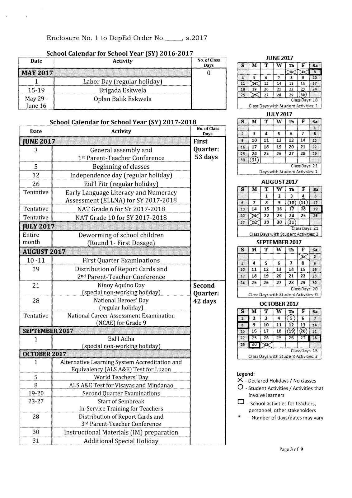 DepEd School Calendar for School Year 2017-2018 - BUHAY MAESTRO MAESTRA