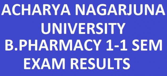 manabadi ANU B.Pharmacy 1st Year 1st Sem Exam Results