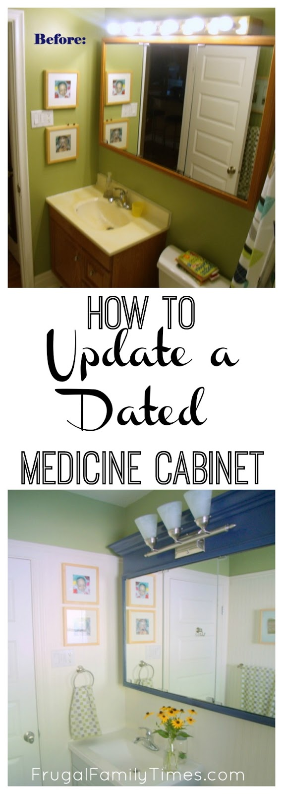 how to update an old dated medicine cabinet on a tight budget frugal family times. Black Bedroom Furniture Sets. Home Design Ideas