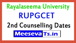 RUPGCET 2nd Counselling Dates 2017