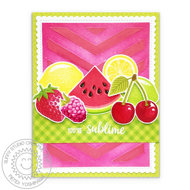 "Sunny Studio Stamps: Slice of Summer Watermelon, Lemon Lime, Strawberry, Raspberry & Cherry ""You're Sublime"" Gingham Card (using Deco Foil Metallix Gel with Frilly Frames Chevron Die)"