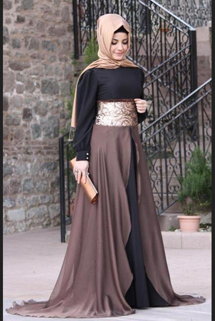 Gaun pesta elegan untuk wanita berhijab