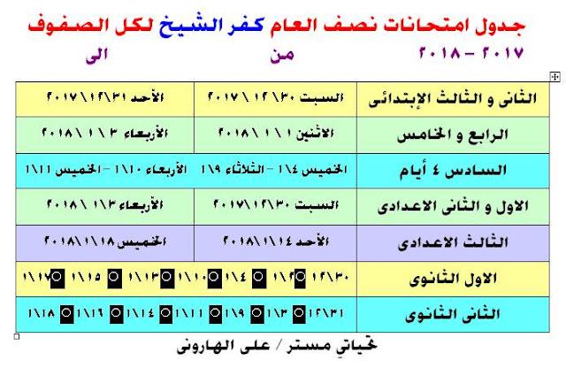 جدول امتحانات محافظة كفر الشيخ 2018