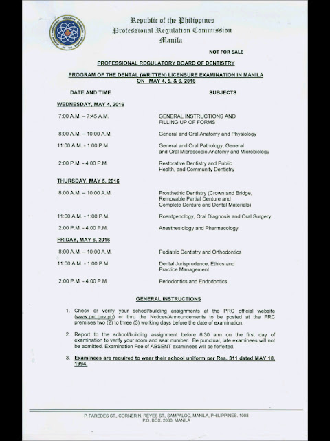 Reminders: May 4-6, 2016 Board Exams ~ Dentist Board Exam Philippines