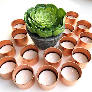 copper tea light candleholder