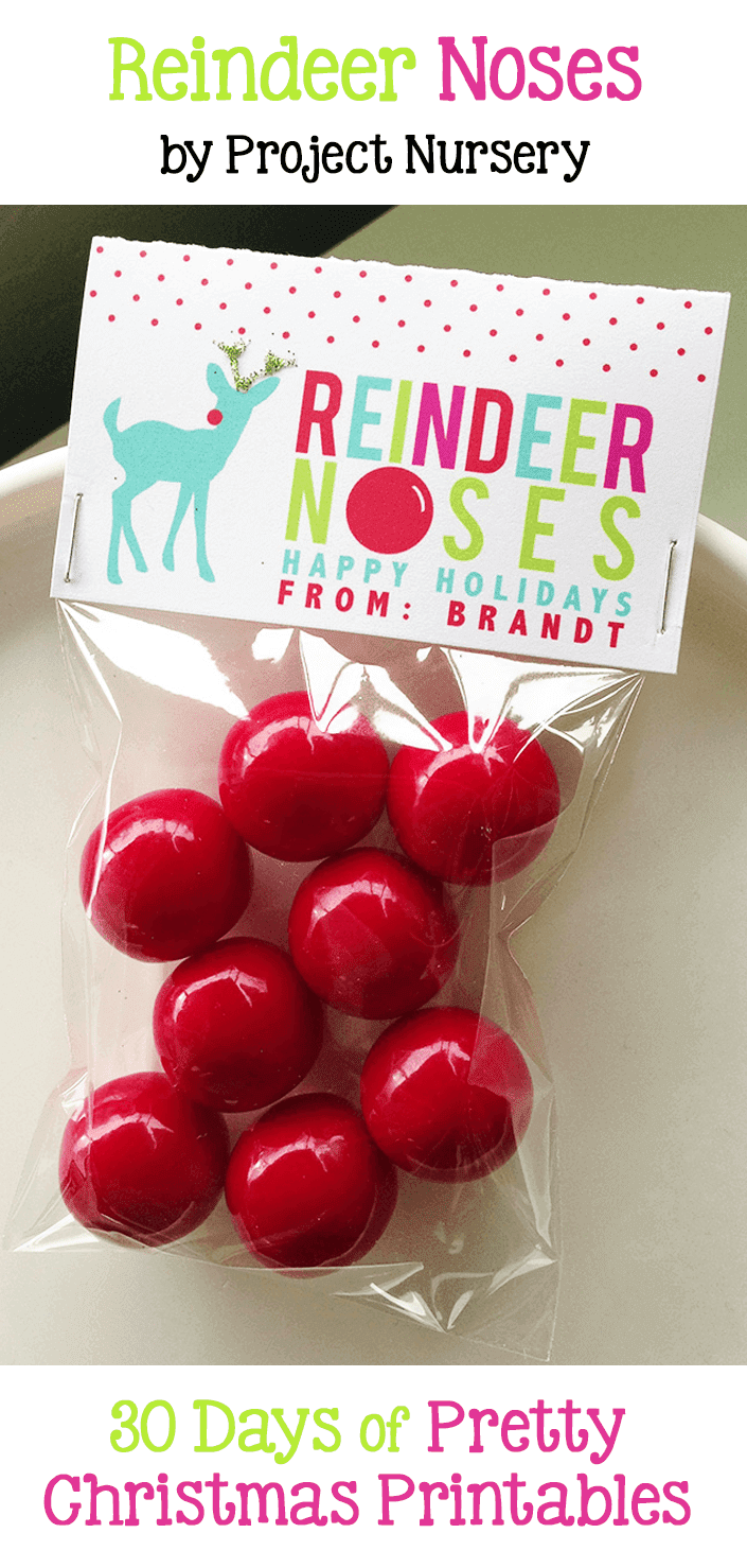 Reindeer Noses. A printable mini treat bag topper. Free from Project Nursery. Hosted by GradeONEderfulDesigns.com