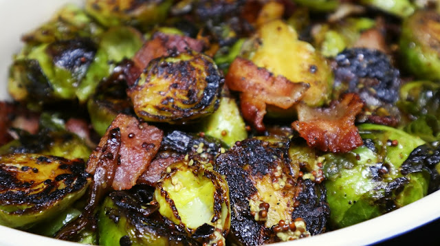 brussels sprouts maple syrup mustard in a dish