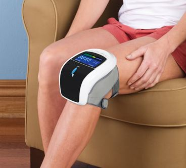 knee care laser massager, knee pain reliever, pain reliever, hands free, hands-free, led, led light treatment, vibration massage, compression massage,