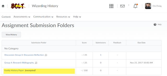 screenshot of the Assignments folders page with the text exempted beside an exempted assignment