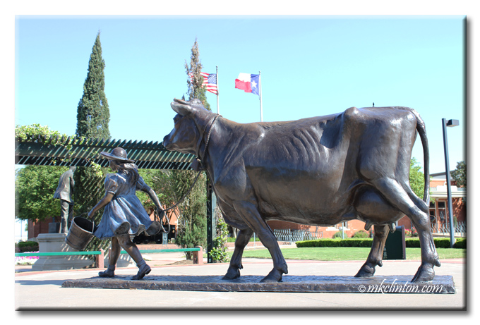 Girl and cow statue representing the Blue Bell logo