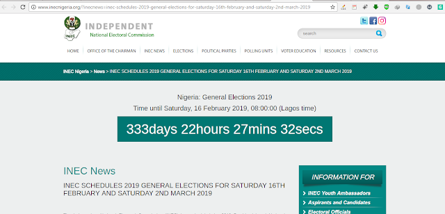 INEC SCHEDULES 2019 GENERAL ELECTIONS FOR SATURDAY 16TH FEBRUARY AND SATURDAY 2ND MARCH 2019