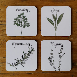 Parsley, Sage, Rosemary and Thyme coasters by www.AliceDrawsTheLine.co.uk