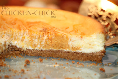 Pumpkin swirl cheesecake recipe via www.The-Chicken-Chick.com