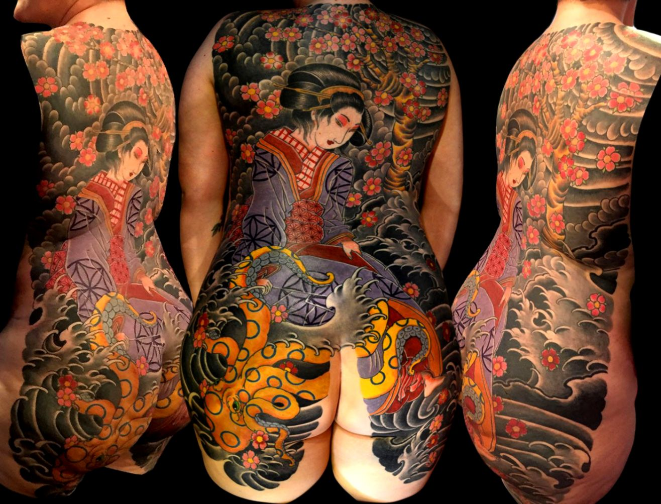 b64b71a3c3d41 Backpiece Geisha Japanese Tattoo Slave to the Needle