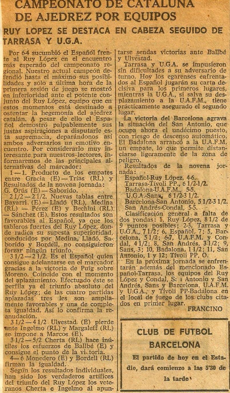 Articulo de Francino en Diario de Barcelona, 23/5/1963