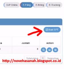 silakan klik tombol BUAT SPT pada laman e filing djp online untuk mengisi SPT tahunan pajak penghasilan anda