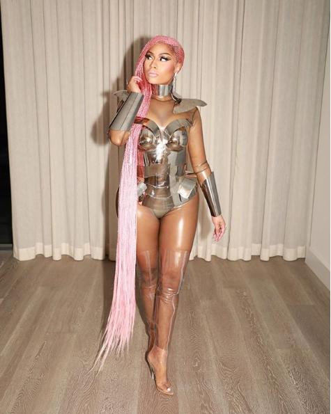 Nicki Minaj rocks pink floor length braids