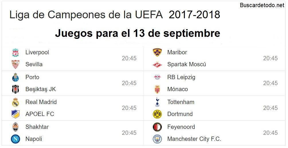 2- Calendario de juegos de la Champions League 2017-2018. Juegos de la Champions League el 13 de septiembre 2017