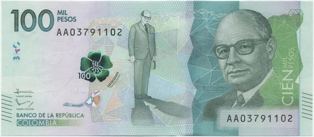 Colombia Currency 100000 Pesos banknote 2016 President Carlos Lleras Restrepo