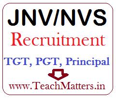 image : Navodaya Vidyalaya Samiti (NVS) Recruitment - TGT, PGT, Principal 2018-19 @ TeachMatters