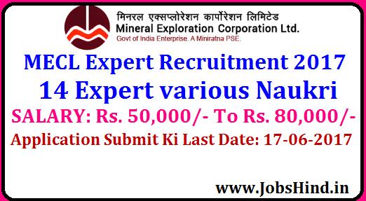 MECL Expert Recruitment 2017