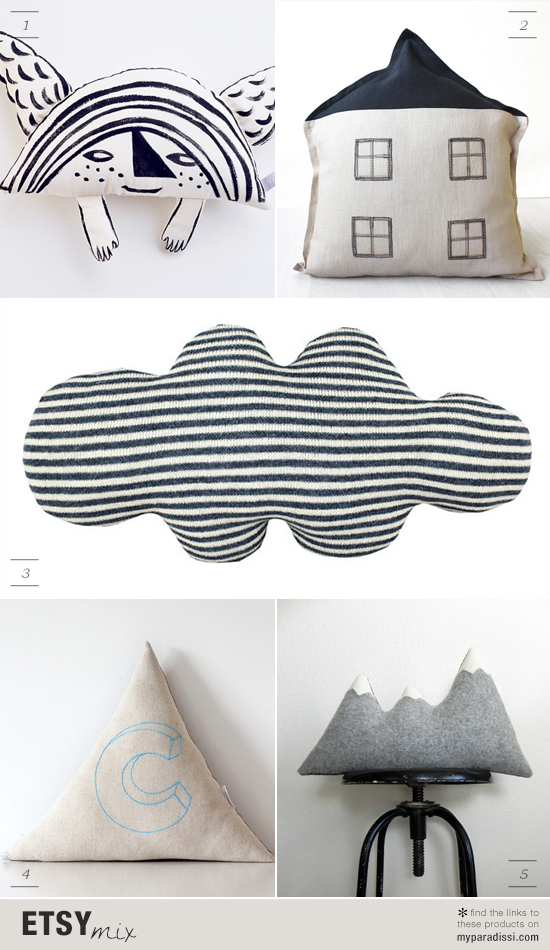 Cute handmade cushions with unique shapes via #etsy