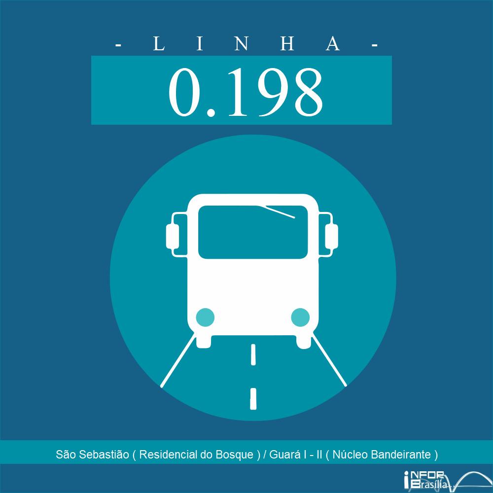 Horário de ônibus e itinerário 0.198 - São Sebastião ( Residencial do Bosque ) / Guará I - II ( Núcleo Bandeirante )