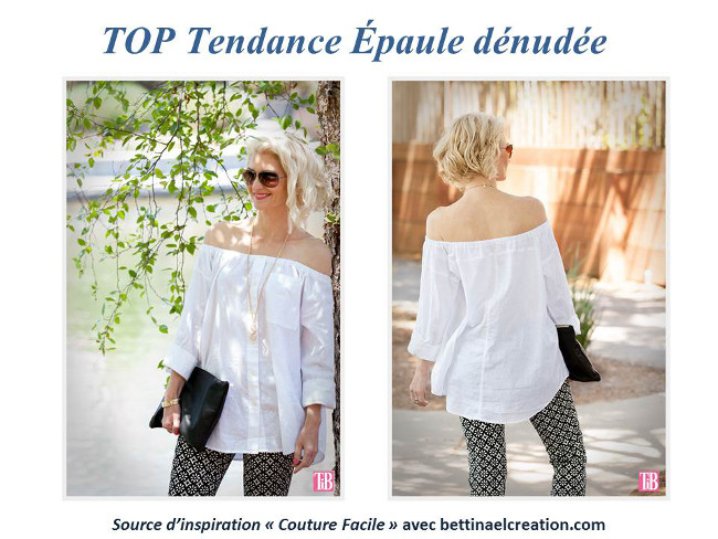 Diy fashion le top bardot moderne et sexy aux paules d nud e bettinael passion couture made - Comment faire une tunique sans patron ...