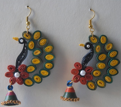 Quilling peacock feather earring designs - quillingpaperdesigns