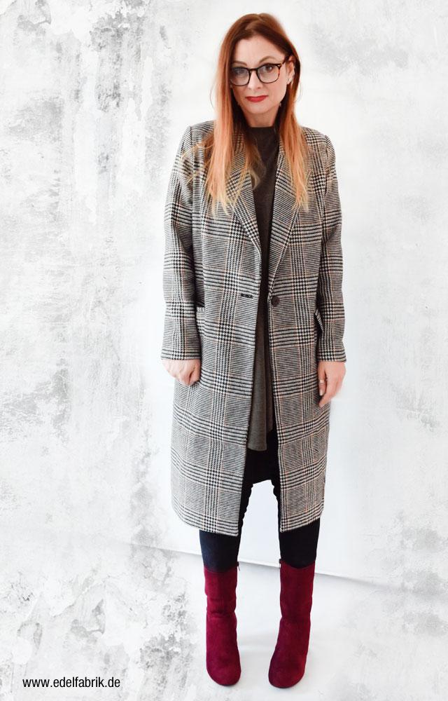 Karierter Mantel von H&M, Outfit mit Karomantel für Damen