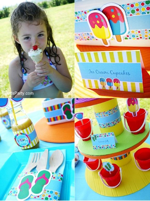 Pool Birthday Party Ideas with Printables - BirdsParty.com