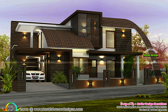 2550 sq-ft contemporary mix roof house