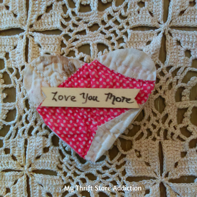 Upcycled vintage quilt valentine