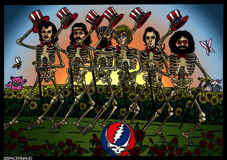 """Et on continue avec un autre groupe de légende, les GRATEFUL DEAD ! Groupe américain fondé en 1965. Leurs styles sont de country rock, folk rock et rock psychédélique. Quelques morceaux connus sont """"Truckin'"""", """"Sugar Magnolia"""" ou bien """"China Cat Sunflower"""".     J'aime beaucoup ce groupe, en particulier leur période psyché de 1967 à 1972, avec des albums excellents  comme """"The Grateful Dead"""" (1967), """"Anthem Of The Sun"""" (1968), """"Aoxomoxoa"""" (1969, mon album préféré) et """"American Beauty"""" (1971).     les grateful Dead n'existe plus depuis 1995, date de la mort de Jerry Garcia, le leader."""