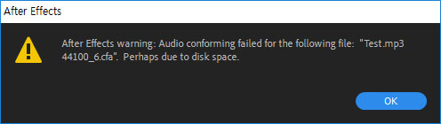 Error in importing audio file from After Effects