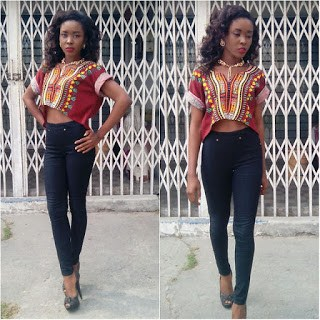 ankara crop top and jeans (3)