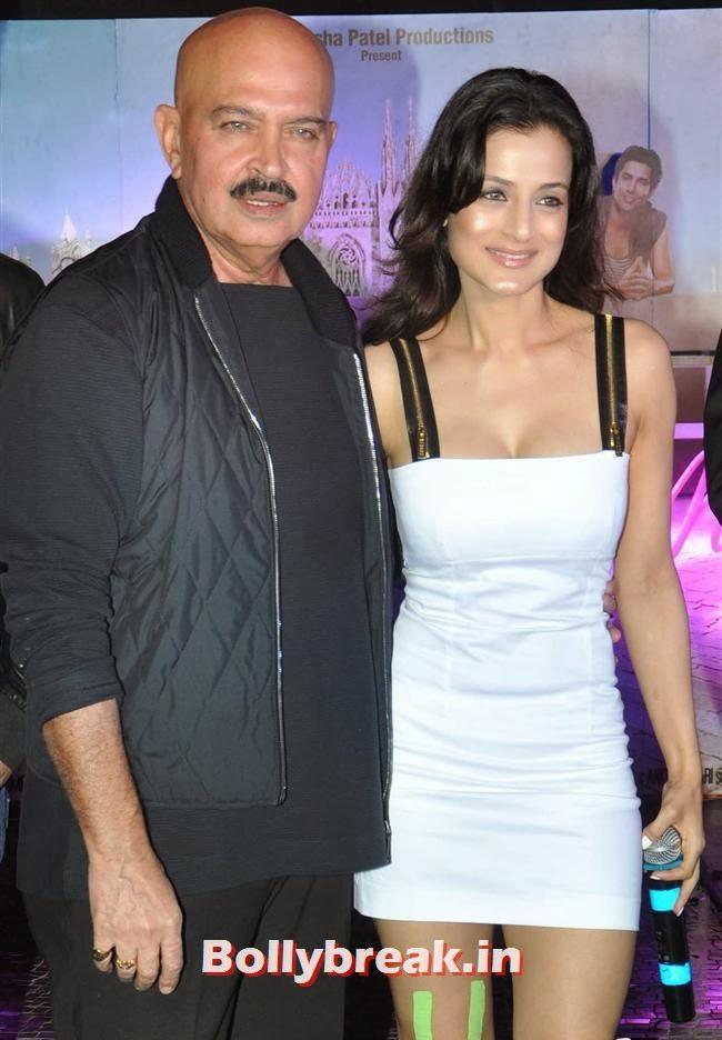 Rakesh Roshan and Amisha Patel, Hot Amisha Patel in White Dress at Desi Magic Poster Launch