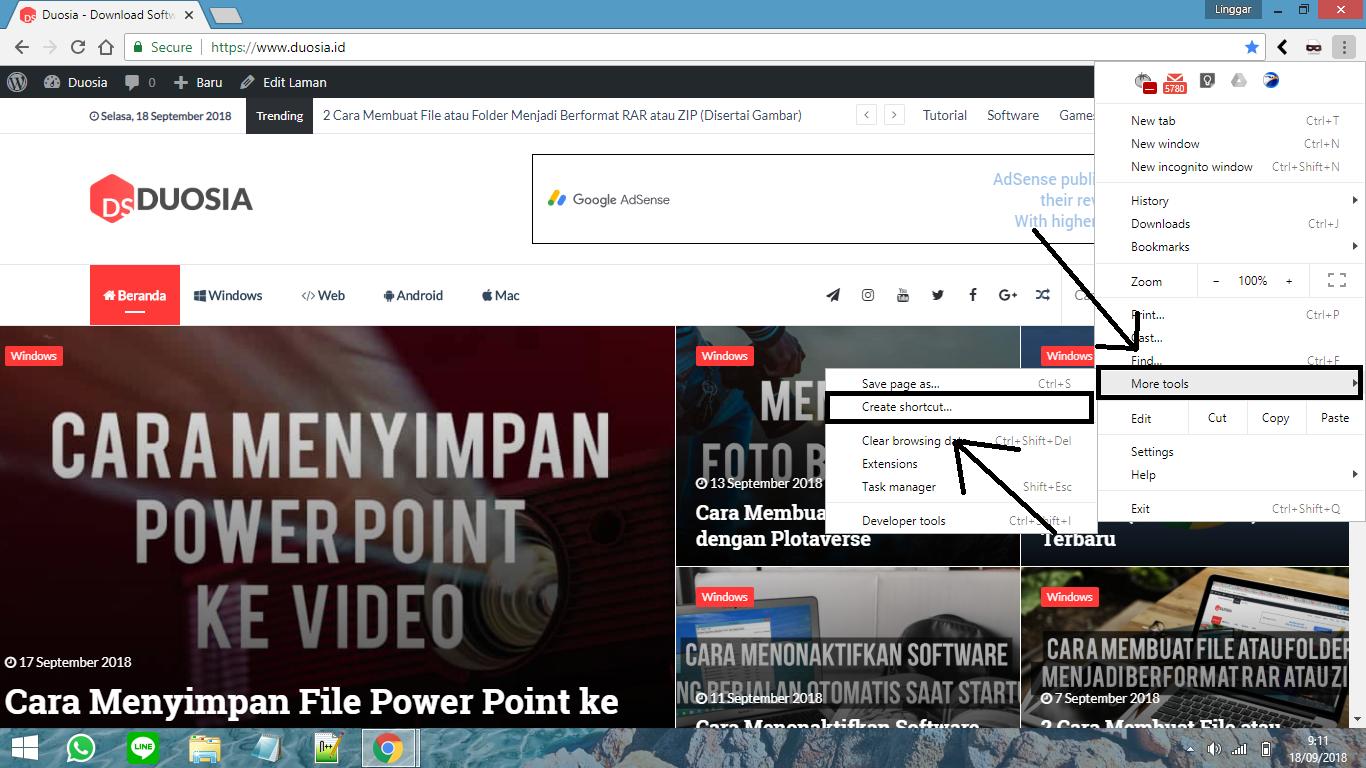 Cara Membuat Shortcut Dari Website Dengan Google Chrome