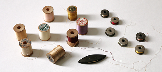 Vintage Thread, Sewing Machine Bobbins and Tatting Shuttle